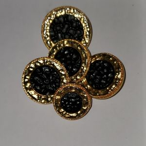 5 AUTHENTIC BLACK & GOLDTONE CHANEL BUTTONS